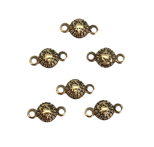 Brass Round Connectors, tiny domed style connectors, Brass Ox, 05770, Connector, Brass Stamping, Brass Connector, Double Hole, 6x11mm, Us Made, Nickel Free, B'sue Boutiques, Jewelry Findings, Vintage Supplies, Jewelry Supplies,