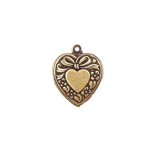 Brass Stamping, Heart Charm, Puffy Style, Brass Ox, Nickel Free Finish, 18 x 16mm