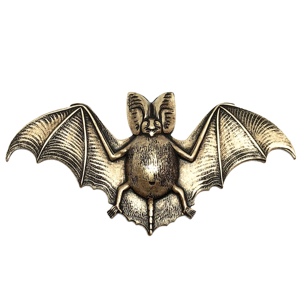 fat bellied bat, brass ox, antique brass, bat, bat stamping, brass stamping, US made, nickel free, 70x36mm, bat jewelry, jewelry making, vintage supplies, jewelry supplies, jewelry findings, B'sue Boutiques, animal, stamping, animal stamping, 0589