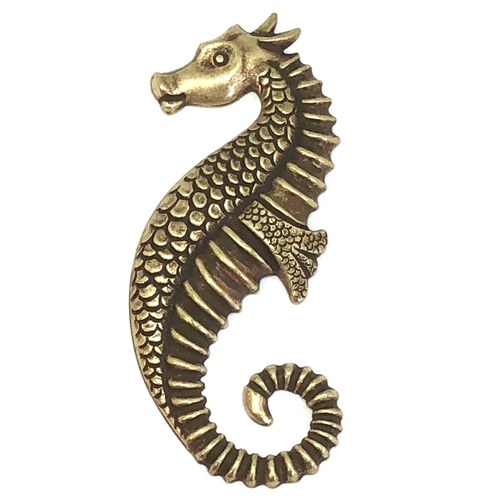 seahorse stampings, brass ox, brass seahorse, 59x23mm, antiqued brass, us made, nickel free, B'sue Boutiques, jewelry making, vintage supplies, jewelry supplies, jewelry findings, 05920