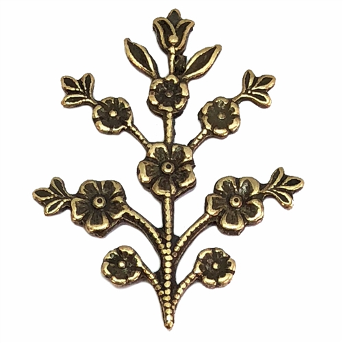 floral sprig, brass ox, brass, antique brass, B'sue Boutiques, nickel free, US made, jewelry supplies, vintage supplies, flower stem, flower sprig, flower, silver, stem, jewelry making, jewelry findings, sprig, 05961