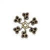 Brass Flowers, pinwheel style, drilled stamping, brass ox, antique brass, flower, spiral, brass stamping, 22mm, pinwheel, Us made, nickel free, B'sue Boutiques, jewelry findings, vintage supplies, jewelry supplies, Victorian, 05968