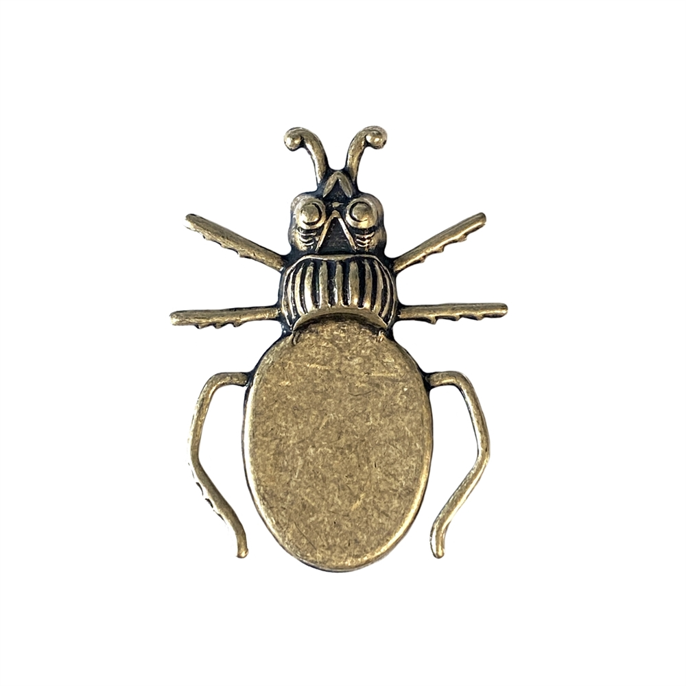 beetle bug mount, antique brass, brass ox, bug, bug mount, bezel, bug bezel, beetle, beetle bug, bug jewelry, 18x13mm mount, jewelry bug, jewelry making, vintage supplies, jewelry supplies, jewelry findings, B'sue Boutiques, insect, 0597
