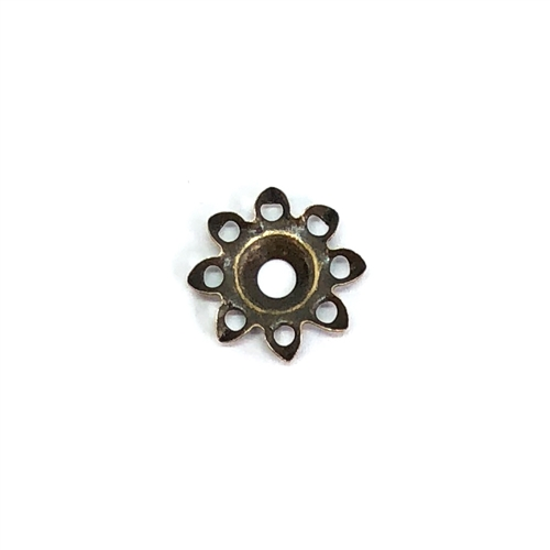 Flower base, drilled base, brass ox, brass flower, filigree flower, center drilled, beading flower, eight petal, eight petal flower, 11mm, US made, nickel free, B'sue Boutiques, jewelry making, jewelry supplies, vintage supplies, antique brass, 05972
