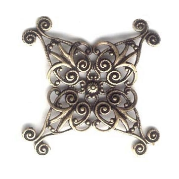 Brass Stamping, Brass Filigree, Small X Shaped Style, Brass Ox, 36mm Square