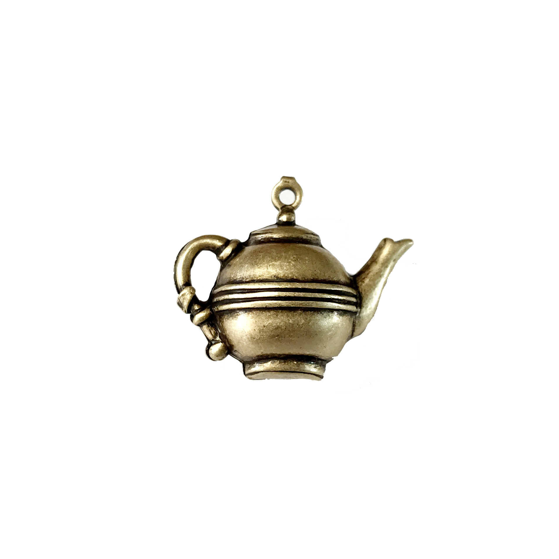 teapot, brass ox, charms, pendant, vintage style, 3d hollow, brass, tea, hollow charm, tea pot, pot, antique brass, doll tea pot, us made, nickel free, B'sue Boutiques, vintage supplies, jewelry supplies, jewelry findings, 14x21mm, brass, tea, 06333