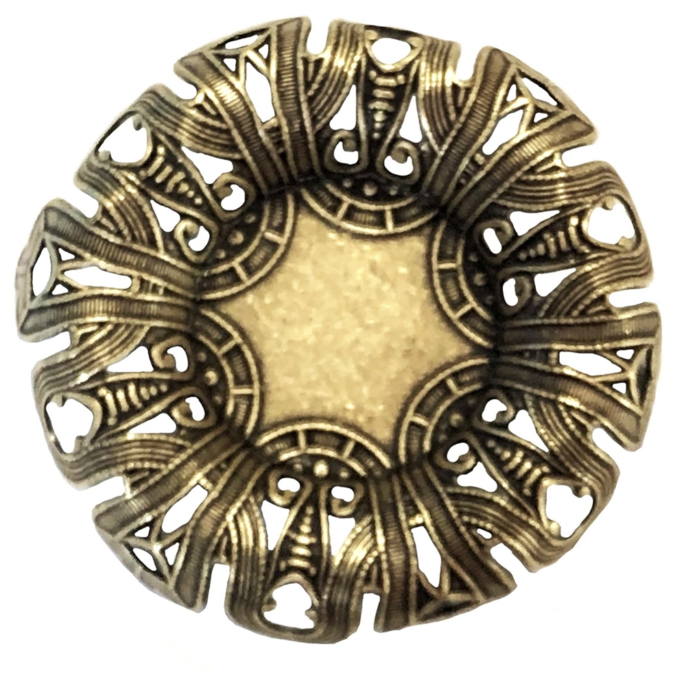 Roll Edged Bezel, Brass Ox, Bezels, Mounts, Brass Stamping, 46mm, 22mm inside, Rolled Edge, Art Nouveau, Brass Bezel, Brass Blanks, Rolled Out Flower Design, Flower Design, Us Made, Nickel Free, B'sue Boutiques, Jewelry Supplies, Jewelry Findings, 06362