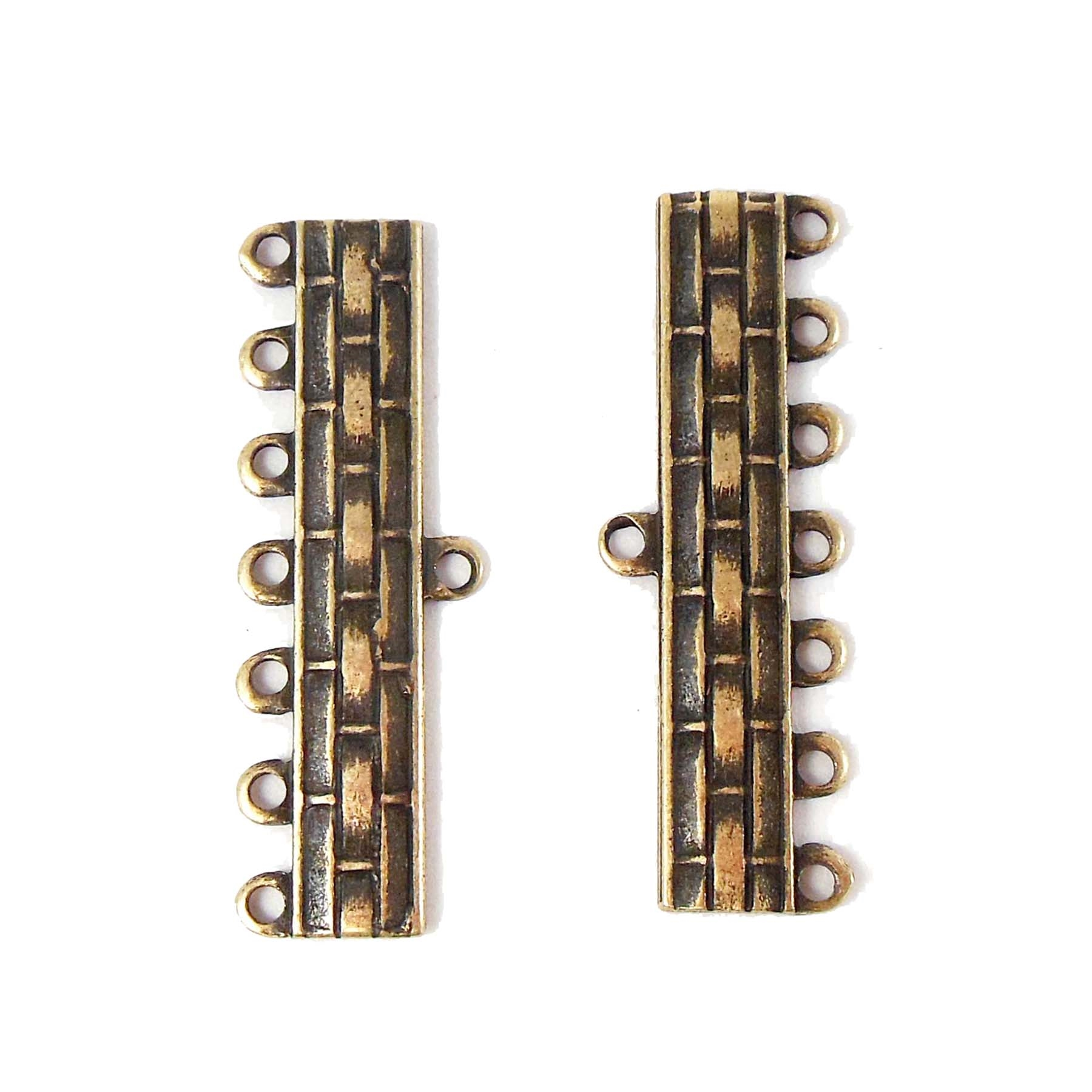 Bracelet Bars, Connectors, 6 Hole Style, 06210, Brass Ox, Brass Stamping, Art Deco, vintage jewellery making supplies, Fancy Bracelet Bar, Necklace Bar, 33mm, Us Made, Nickel Free, Jewelry Findings, Vintage Supplies, Jewelry Supplies, B'sue Boutiques,