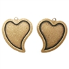 Brass Stamping, Heart Stamping, Curved Style, Brass Ox, 25 x 21mm