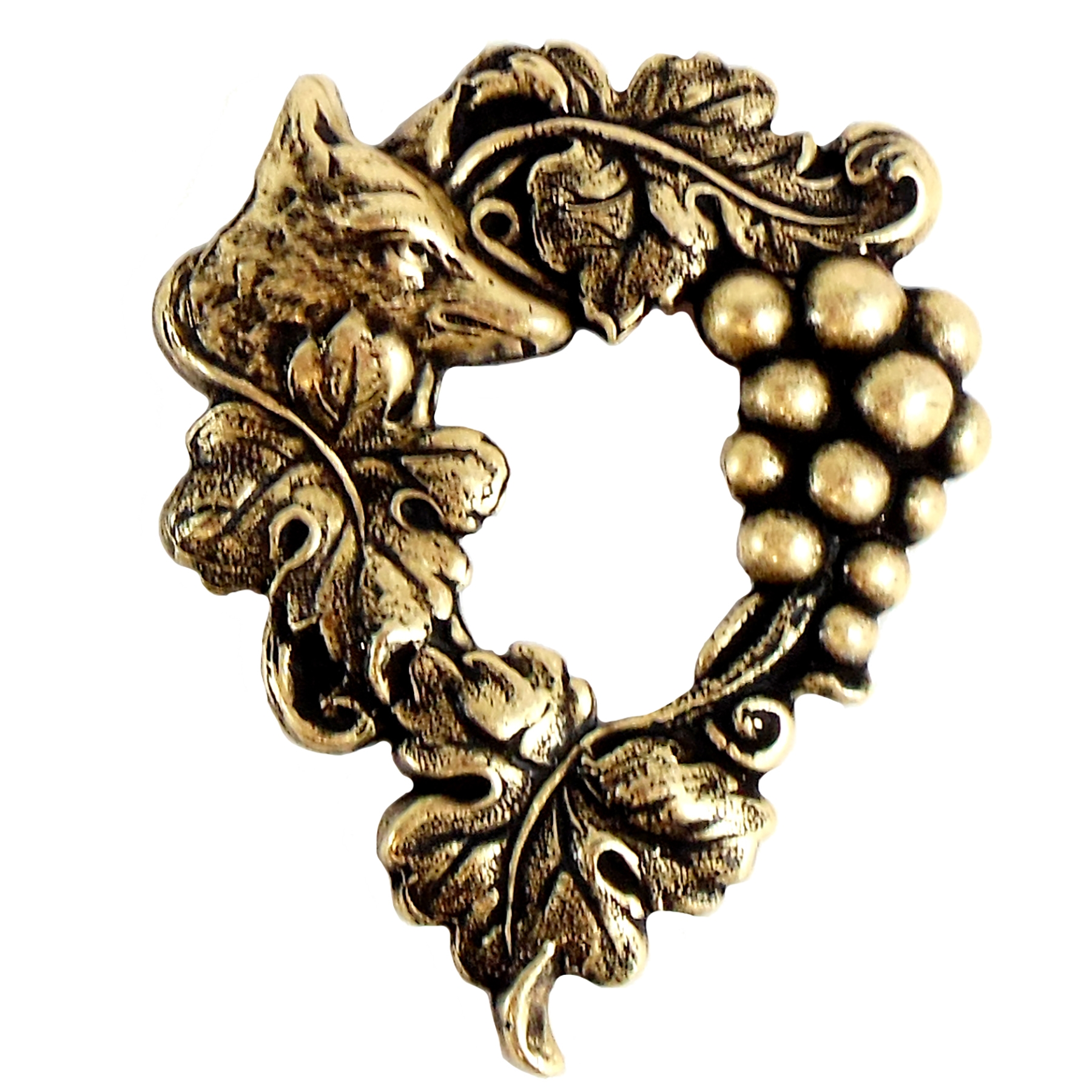 fox stampings, grapevine stampings, wreath, 06801, B'sue Boutiques, nickel-free, jewelry supplies, brass jewelry supplies, vintage jewelry supplies, jewelry findings, grapes, grapevine wreath, brass ox, antique brass