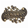 brass stampings, scroll stampings, brass ox, 06802, B'sue Boutiques, nickel free, US Made, jewelry making, bracelet making, black antiquing, leaf border design, vintage jewelry supplies,