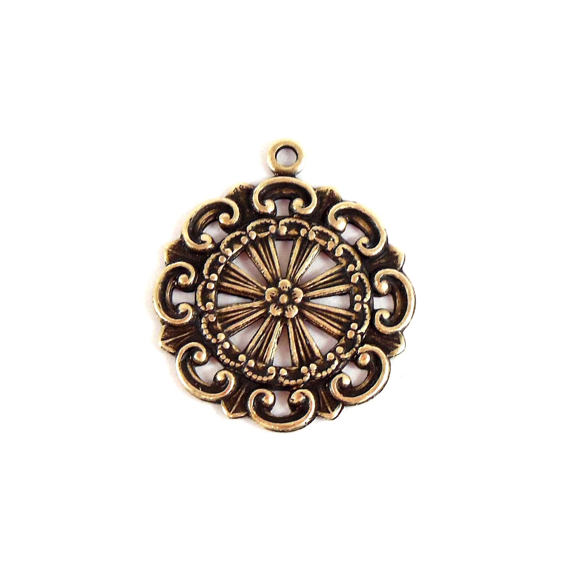 brass filigree, brass charms, brass ox, 06844, pendants, jewelry making, brass findings, vintage jewelry supplies, B'sue Boutiques, nickel free, US Made, pinwheel pendant, scalloped edge charms