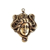 brass lady, lady head, lady connector, 06847, B'sue Boutiques, nickel free, antique brass, jewelry supplies, jewelry making, black antiquing, Art Nouveau style, hollow back design