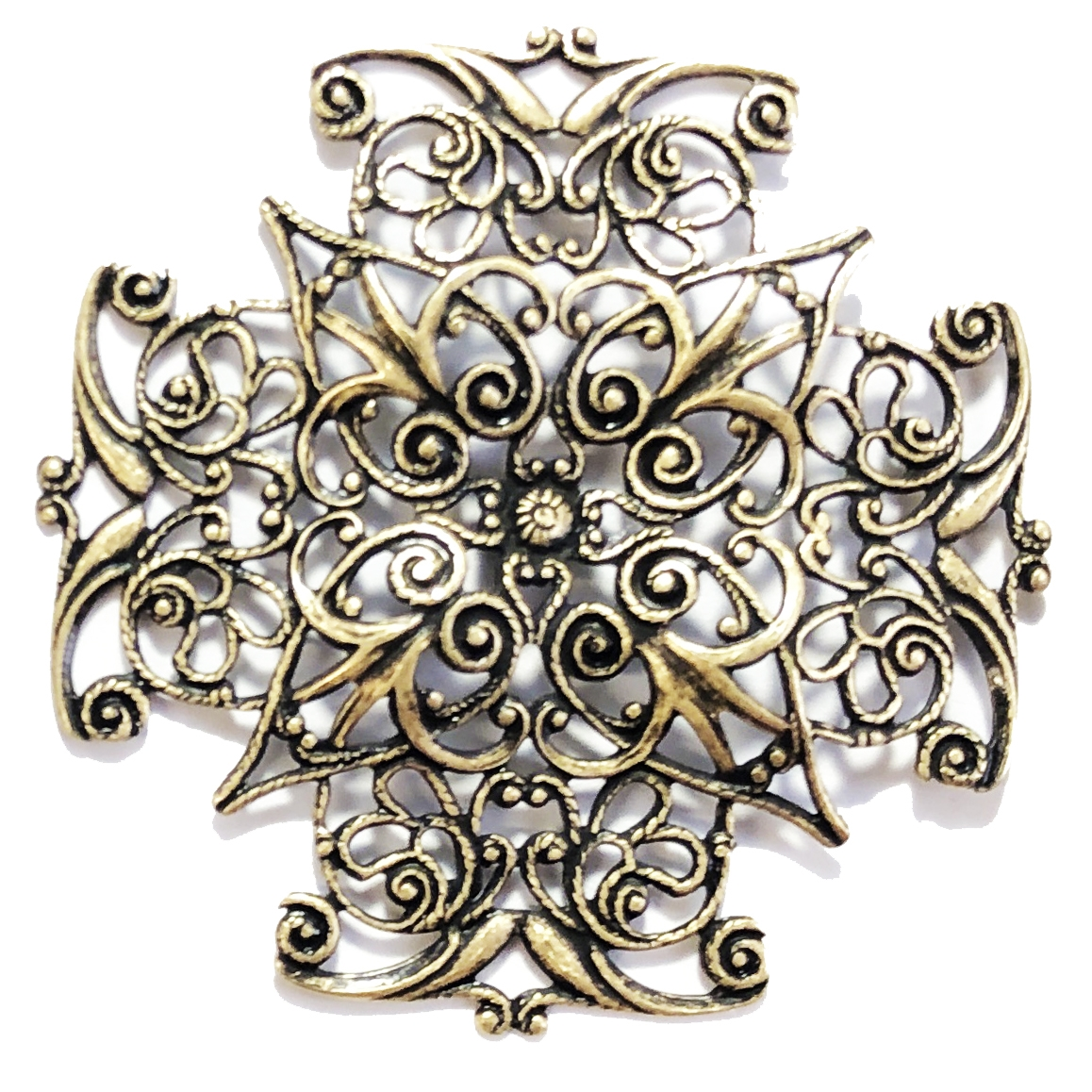 Brass Filigree, Vintage Style, Stampings, Dapt, Made in the USA, 47mm, Brass Ox Finish, Nickel Free