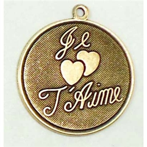 Brass Stamping, Je T'aime, French Charm. Brass Ox, Nickel Free Finish, US Made, 26mm