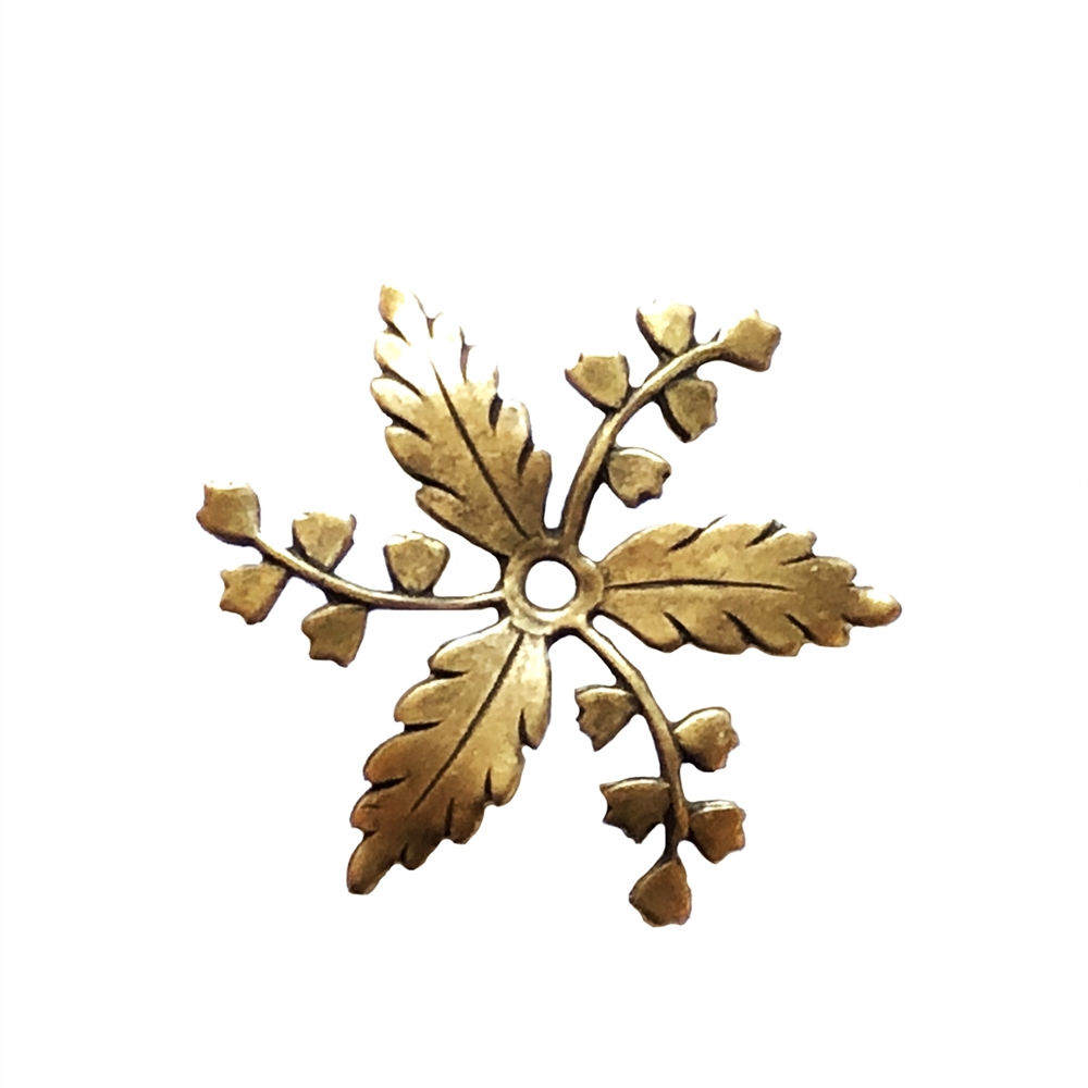 brass flowers, brass leaves, drilled leaves, 34mm, floral pinwheel, pinwheel, flower wheel, jewelry making, jewelry supplies, B'sue Boutiques, US-made, nickel-free, drilled leaves, vintage supplies, brass ox, antique brass, 07219