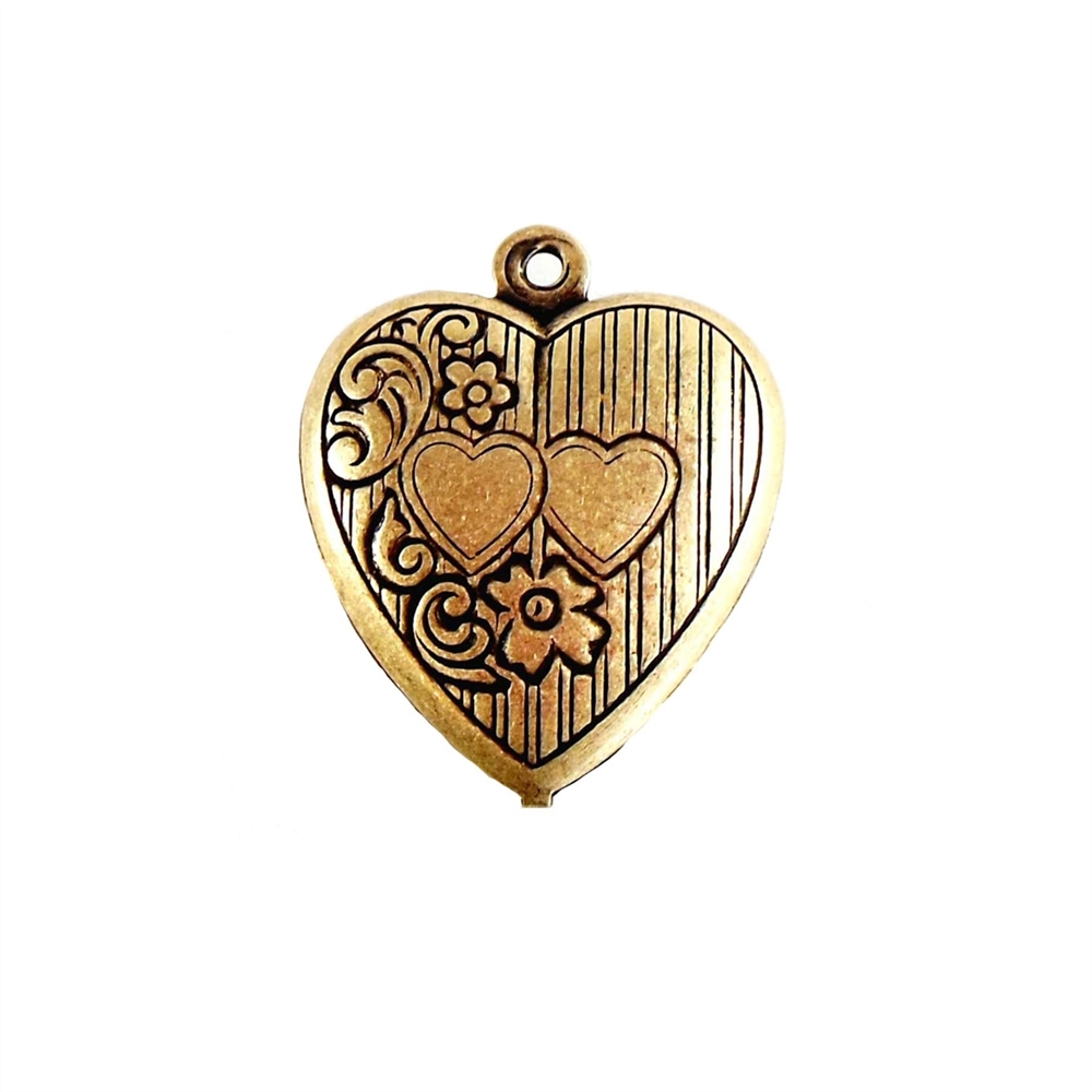 brass hearts, heart charms, antique brass, 07220, B'sue Boutiques, nickel free, US Made, vintage jewellery supplies, brass jewelry supplies, brass jewelry parts, brass findings, puffy hearts, heart pendants, black antiquing, brass ox