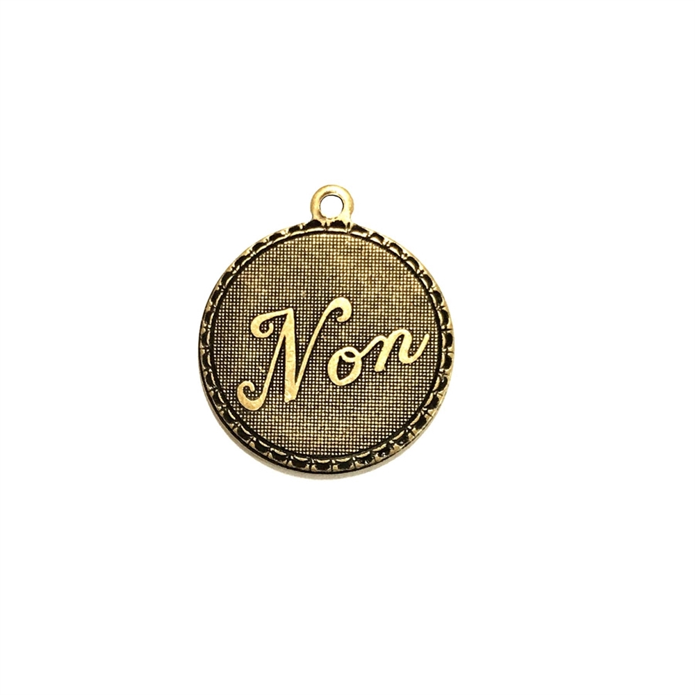 non charm, brass ox, 19mm, antique brass, pendant, French, brass stamping, charm, french charm, us made, no charm, B'sue Boutiques, vintage supplies, jewelry supplies, jewelry findings, us made, nickel free, brass, stampings, love, 07397