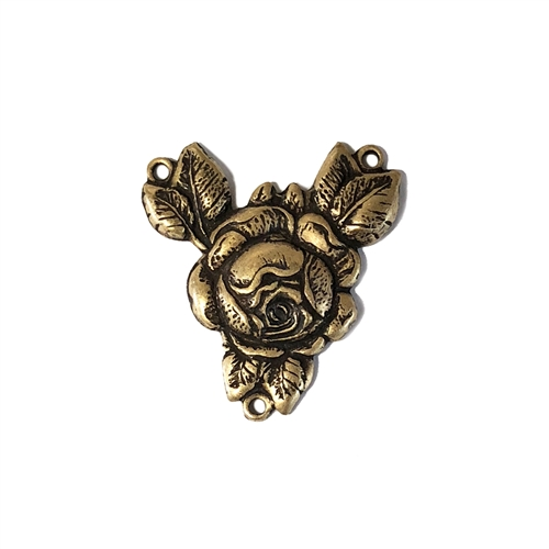 Rose Connector, Brass Stamping, Brass Ox, Rose, Connector, Flowers, Brass Roses, Jewelry Finding, Victorian Style, Brass Base, 27 x 25mm, Nickel Free, Victorian, B'sue Boutiques, Made in USA, Jewelry Supplies, 0759