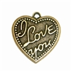 Brass Heart Stamping, Brass Ox, I Love You, Heart Pendant, 24 x 24mm