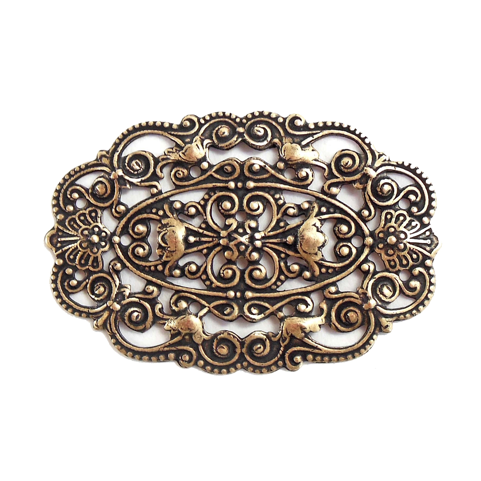 victorian beading filigree, brass ox, filigree, antique brass, beading filigree, victorian design, US made, nickel free, black antiquing, filigree centerpiece, jewelry supplies, vintage supplies, jewelry making, B'sue Boutiques, 30x44mm, 07738