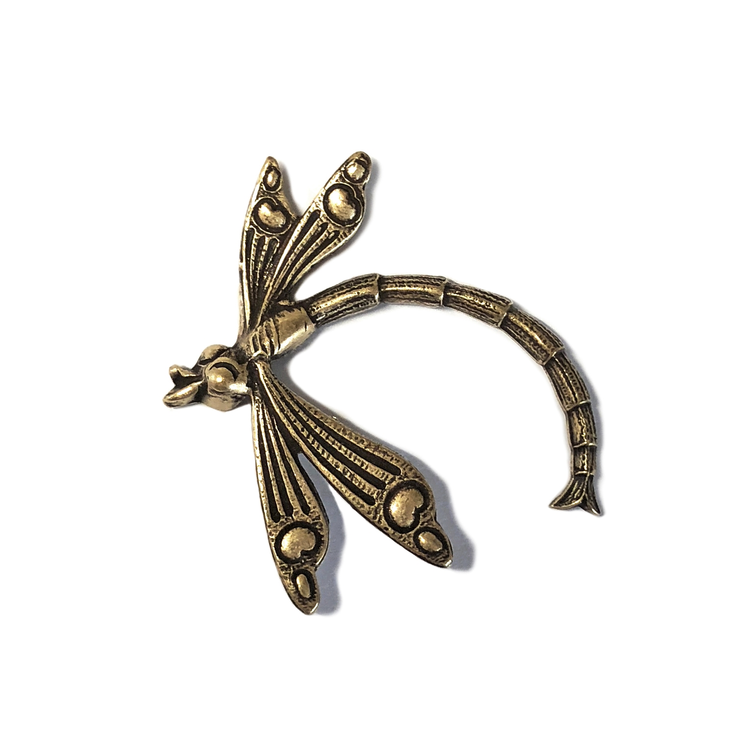 Brass Dragonfly, Curved Style, Brass Stamping, Brass Ox, Nickel Free Finish, 26 x 31mm