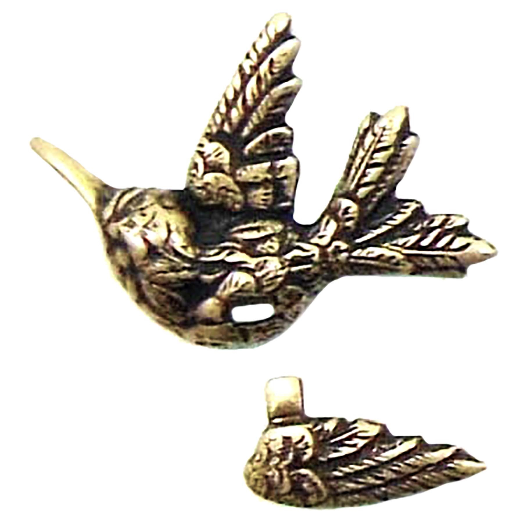 brass bird stamping, brass ox, 08081, antique brass, bird jewelry, jewelry making supplies, vintage jewelry supplies, brass birds, attachable wings, bird with wing,  bsueboutique, US-made, nickel-free jewelry supplies,