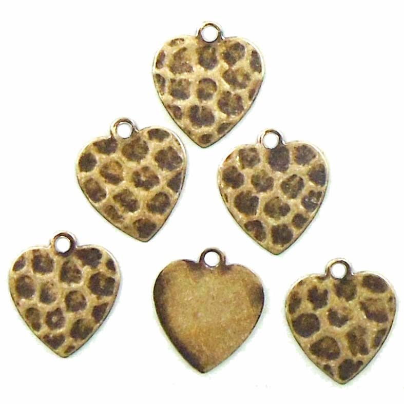 Brass Heart Stamping, Hammered, Charm, Brass Ox, 13 x 12mm