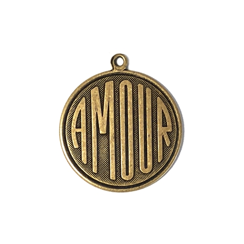 amour charm, brass ox, 26mm, antique brass, pendant, French, brass stamping, charm, french charm, us made, love charm, B'sue Boutiques, vintage supplies, jewelry supplies, jewelry findings, us made, nickel free, brass, stampings, love, 08315