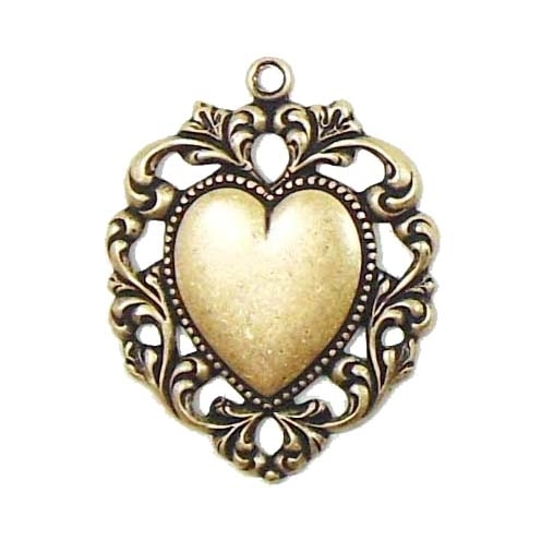 brass hearts, Victorian, vintage jewelry, brass ox, B'sue Boutiques,Victorian jewelry, jewelry supplies, jewelry making, antique brass, heart pendants, brass pendants, heart blanks, black antiquing, brass filigrees, brass stampings, beading filigrees,0833