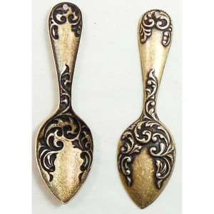 Spoon Stampings, Victorian Style, Drilled Handle, Brass Ox, 2 x 5/8 Inches
