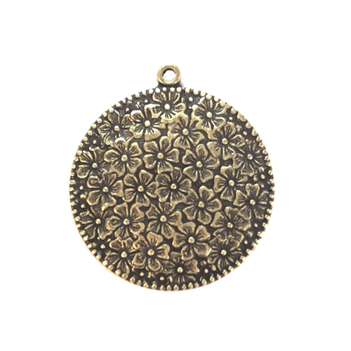 floral pendant, brass ox, 08343, brass pendant, antique brass, flower design, floral, daisies, round pendant, circle pendant, 30mm, Bsue Boutiques, jewelry supplies, pendant