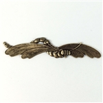 brass dragonflies, curved, antique brass, 08386, b'sue boutiques, nickel free, us made, brass jewelry parts, vintage jewellery supplies, brass ox, dragonfly, black antiquing, dragonfly stampings, insect jewelry, jewelry making, jewelry findings, vintage,