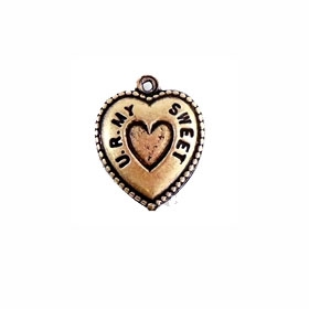 heart charm, puffy, sweetheart, 08517, you are my sweetheart, U R My, brass ox heart charm, brass ox, B'sue Boutiques, hearts, charm bracelet