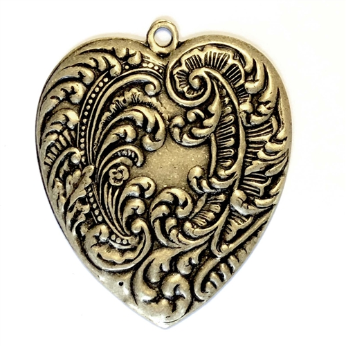 brass heart, Victorian heart, brass ox, 08607, 54x46mm, antique brass, black antiquing, US made, nickel free, bsueboutiques, jewelry making supplies, vintage jewelry supplies, feather style heart