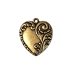 floral heart pendant, brass ox,  pendant, heart charm, heart, floral, floral heart, 28x24mm, victorian, antique brass, us made, nickel free, B'sue Boutiques, jewelry making, jewelry supplies, jewelry findings, 09166