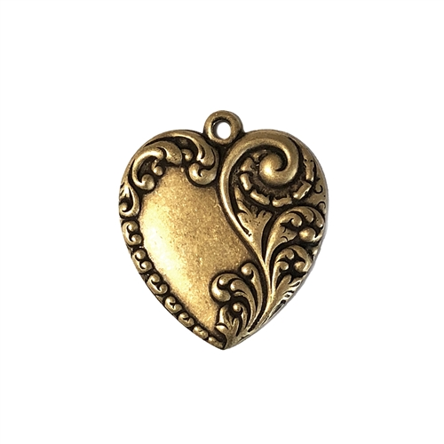 Victorian Heart Charm, Brass Stampings, Brass Ox, 26 x 24mm