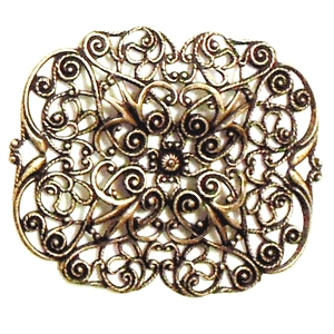 Brass Filigree, Rectangular Design, Brass Ox, 38 x 47mm