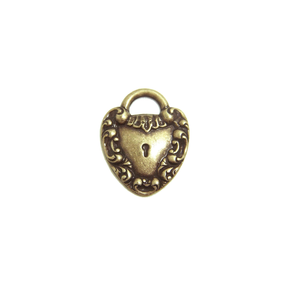 Brass Heart, Victorian Heart, Lock Motif, Brass Ox, 20mm