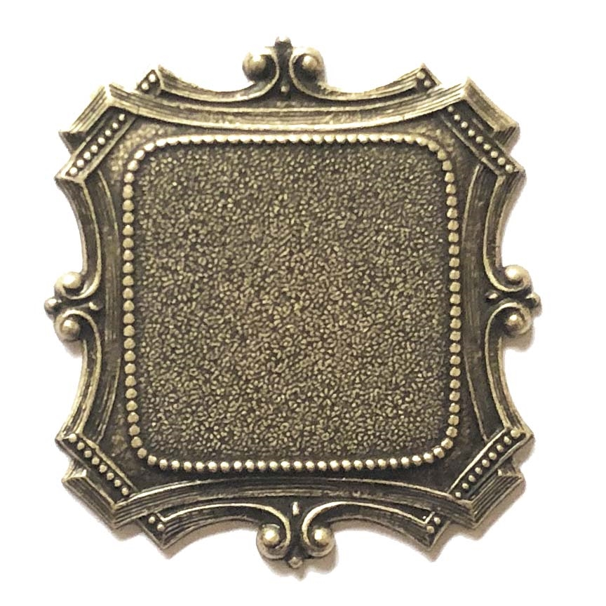 brass stampings, mount, brass ox, 09682, antique black, vintage jewelry supplies, US made jewelry supplies, B'sue Boutiques, medieval style mounts, ceralun, brass bezels, jewelry findings, square mount