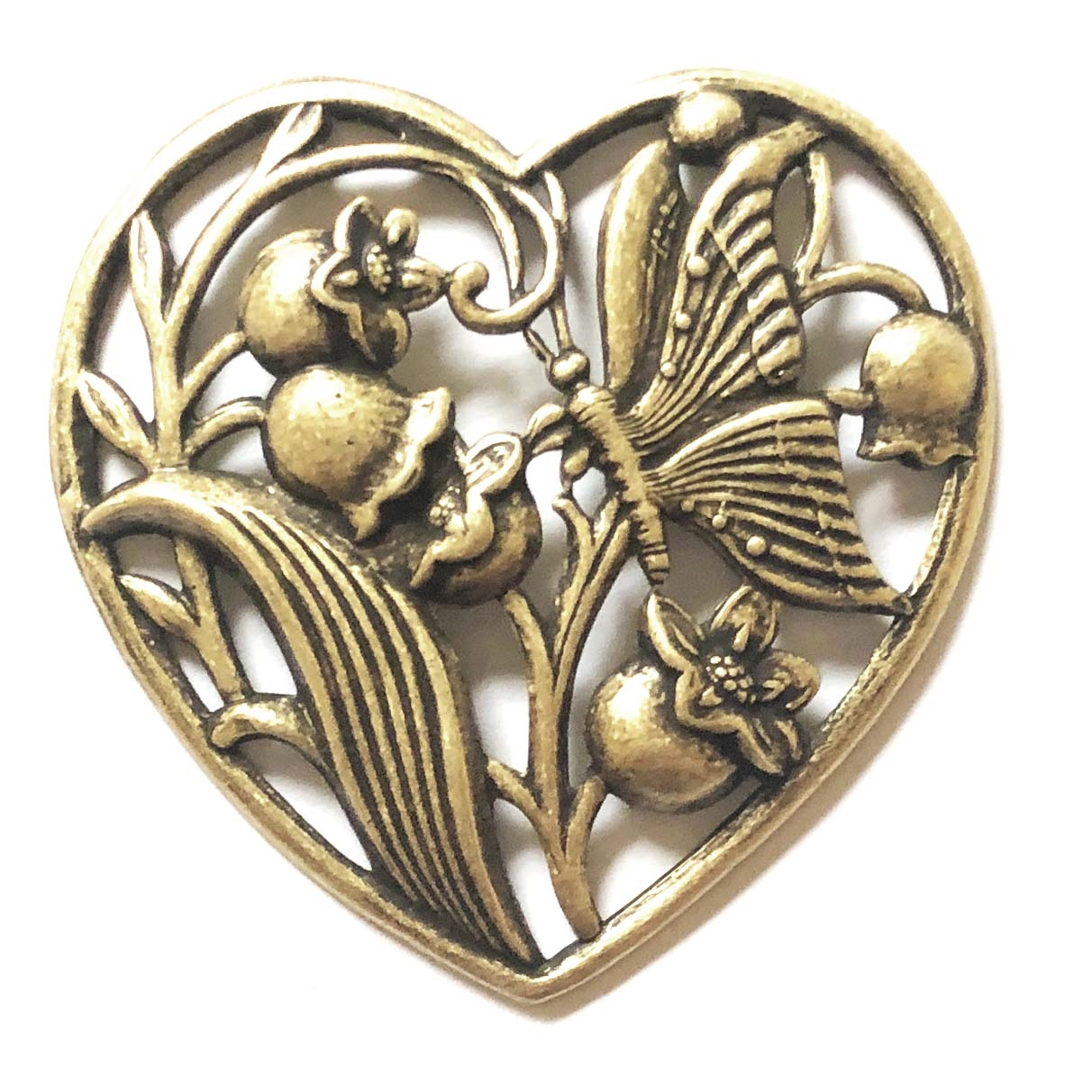 brass hearts, lily of the valley heart, heart stampings, filigree hearts, 09264, jewelry making, brass ox, black antiquing, jewelry making supplies, vintage jewelry supplies, US made, nickel free jewelry supplies