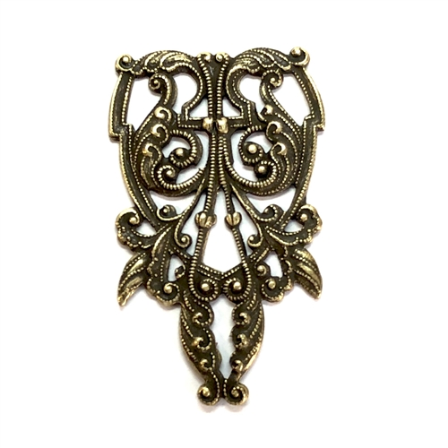 Brass Filigree, Vintage Filigree, Brass Ox, 09785, bsue boutiques, nickel free, jewelry making supplies, vintage jewelry supplies, antique brass, US made, jewelry findings, Victorian style jewelry parts