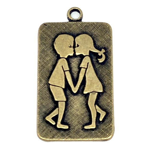 Brass Stampings, Charm, Pendant, Dancing Kids, Brass Ox, 27 x16mm