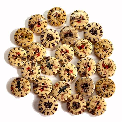 wooden buttons, clock design, clock, 07482, double hole, 20mm, buttons, assemblage, assorted buttons, assorted designs, jewelry supplies, Bsue Boutiques, button, clocks, roman numerals