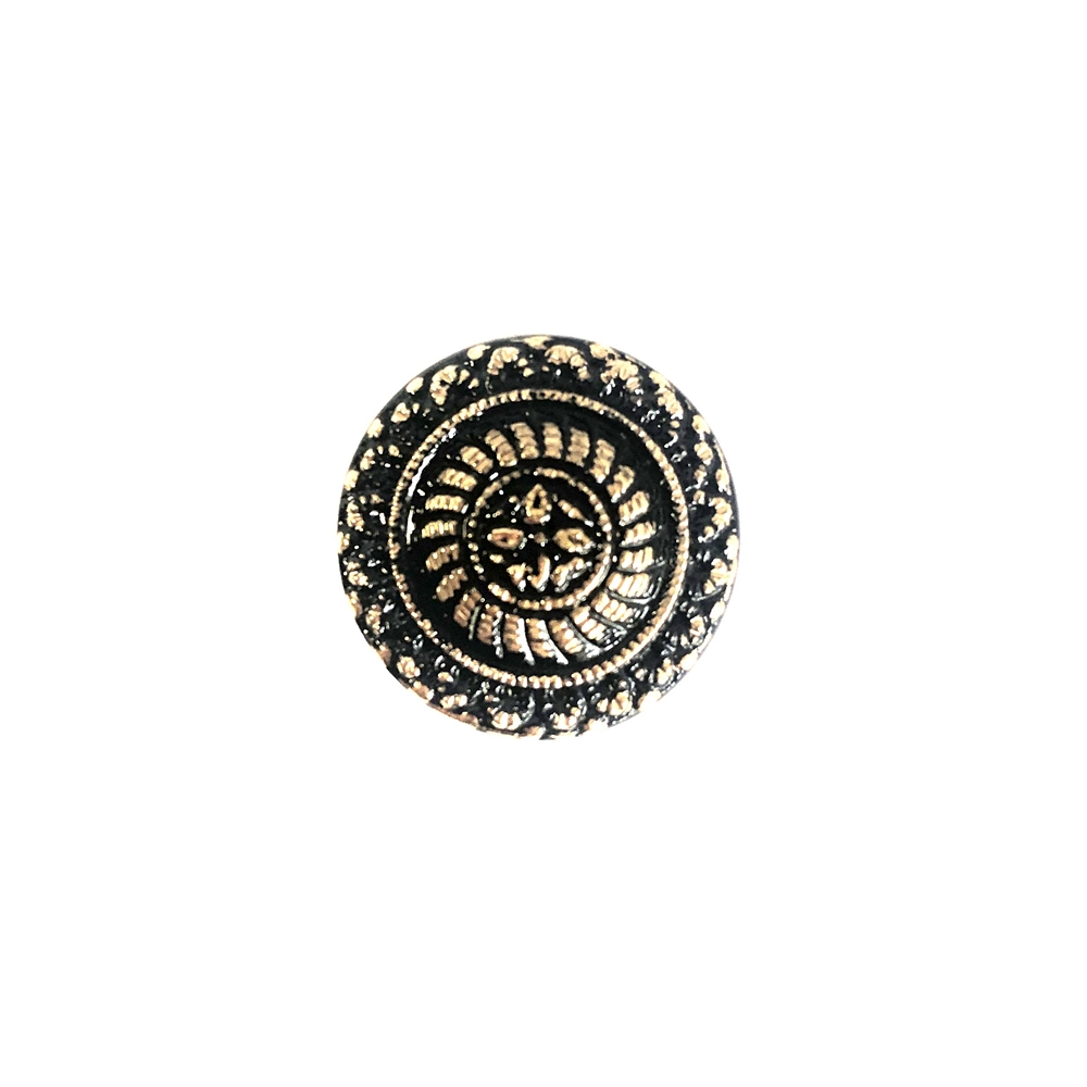 button top, glass, German, 0764, button, buttons, glass cabochon, cabochon, glass stone, 18mm, B'sue Boutiques, jewelry supplies, altered art, mixed media, black, bronze, black  button, round, vintage button, vintage cab, European glass