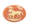 horse and colt cameo, creme over tan, creme, colt, horse, mare, cameo, resin, 18x25mm, tan, cameo horse, cameo jewelry, horse jewelry, cowboy jewelry, B'sue Boutiques, us made, jewelry findings, vintage supplies, jewelry supplies, jewelry making, 01470
