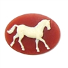 horse cameo, horse, cornelian, cameo, ivory, ivory over dark cornelian, 30x40mm, stallion, prancing, prancing horse, resin, quarter horse, B'sue Boutiques, us made, jewelry findings, jewelry making, vintage supplies, jewelry supplies, horse jewelry, 01471