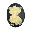 sitting fairy sprite cameo, fairy, fairy sprite, sitting on rock fairy, sitting fairy sprite, ivory over black, black base, cameo, 40x30mm, young fairy, cameo jewelry, jewelry making, vintage supplies, jewelry findings, B'sue Boutiques, 01473