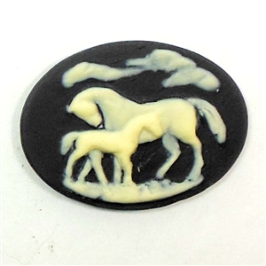 Cameo, Horse and Colt Cameo, Imported Resin, Ivory over Black, 30 x 40mm