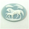 Cameo, Horse and Colt Cameo, Imported Resin, White over Pale Blue, 30 x 40mm